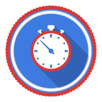 icone en broderie représentant un chronomètre